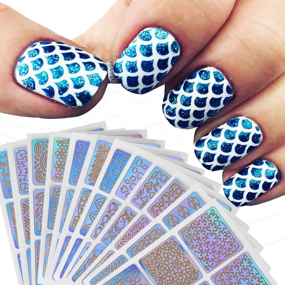 12 Sheets New Nail Hollow Irregular Grid Stencil Reusable Manicure Stickers Stamping Template Nail Art Tools