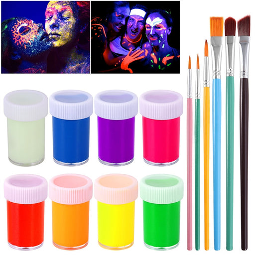 NUOLUX UV Glow Blacklight Face and Body Paint 8 Colors Fluorescent Pigment and 6pcs Paint Brushes
