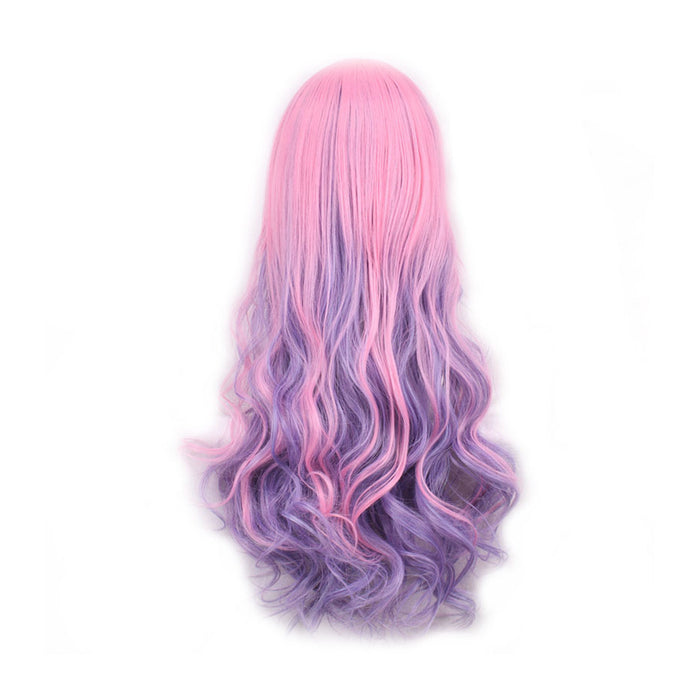 Multicolor Long Wavy Wig Costumes Cosplay Curly Wig for Women Girls (Pink & Purple)