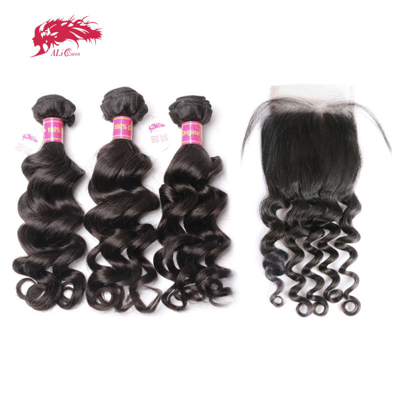 Ali Queen Human Hair Bundles With Lace Closure Free Part Pre-Plucked Hairline Brazilian Natural Wave Virgin Hair