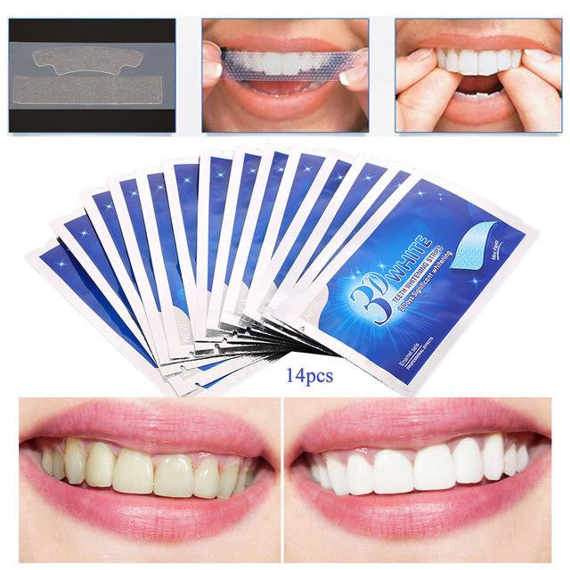 14pcs 7pairs 3D White Gel Teeth Whitening  Oral Hygiene Care Double Elastic Teeth