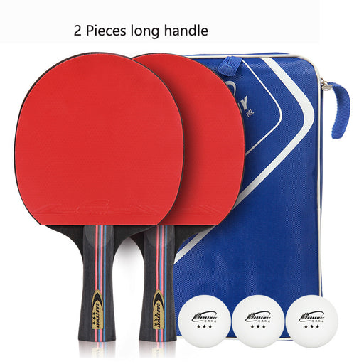 2pcs/lot Table Tennis Bat Racket Long Short Handle Ping Pong Paddle Racket Set With Bag 3 Balls Double Face Pimples In