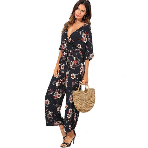Surplice Neck Wide Leg Maxi Floral Jumpsuit