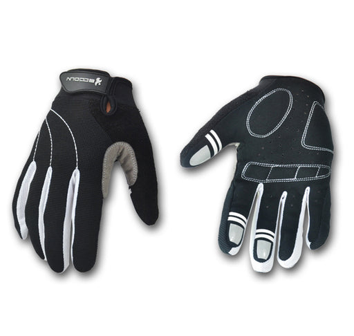 Cycling Gloves,Full Finger Bicycle Gloves Anti-slip Biking for Men and Women(Black+White)