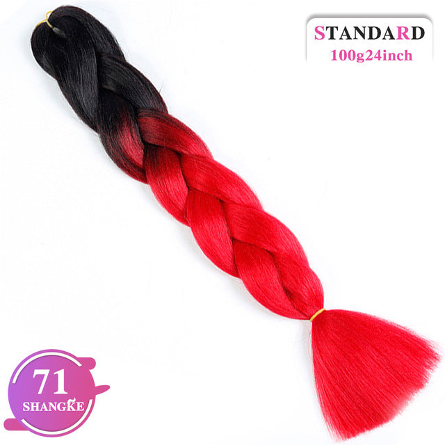SHANGKE 24'' 100g/pc Synthetic Ombre Kanekalon Braiding Hair Crochet Braids Hairstyles Hair Extensions Purple Pink Black
