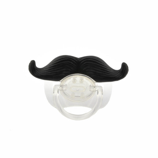 Funny Cute Moustache Style Baby Boy Girl Infant Pacifier Soother Teether Orthodontic Dummy Beard Nipple (Black+Transparent)