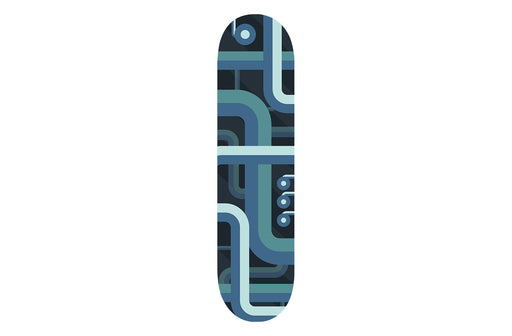 Blue Lined Patterned Skateboard