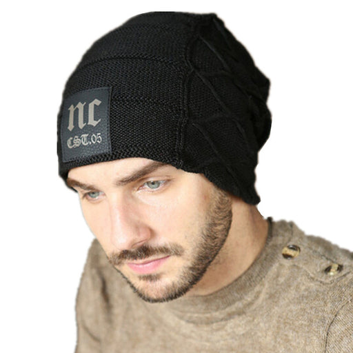2018 Winter Beanie Fleece Hat Letter Slouchy Beanie Woolen Cap Mens Winter Casual Knitted Hats Fashion Women Warm Skullies Caps