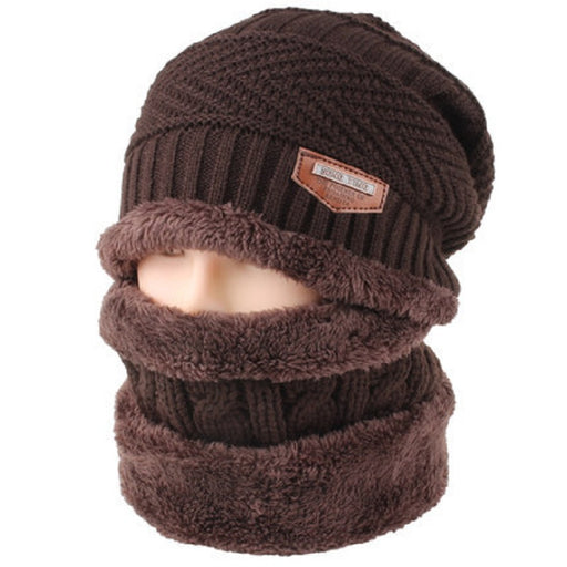 Men Skullies Beanies Caps Winter Balaclava Face Mask Hat Scarf Set Neck Warmer Thicken Warm Cap Casual Knitted Beanie Wool Hats