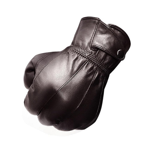 Plush Lambskin Men's Wrist Winter Lining Warm Leather Button Gloves Genuine