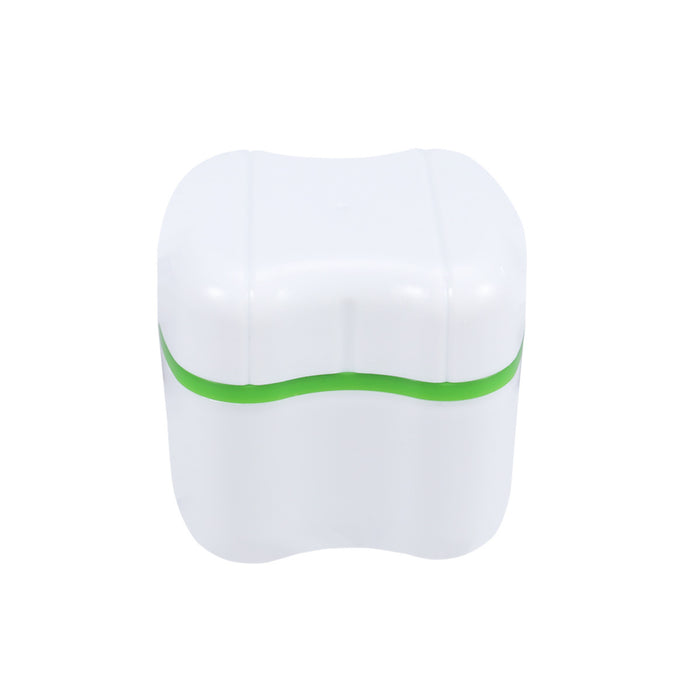 Denture Box Case Denture Bath Box Case Dental False Teeth Storage Box with Rinsing Basket (Green)