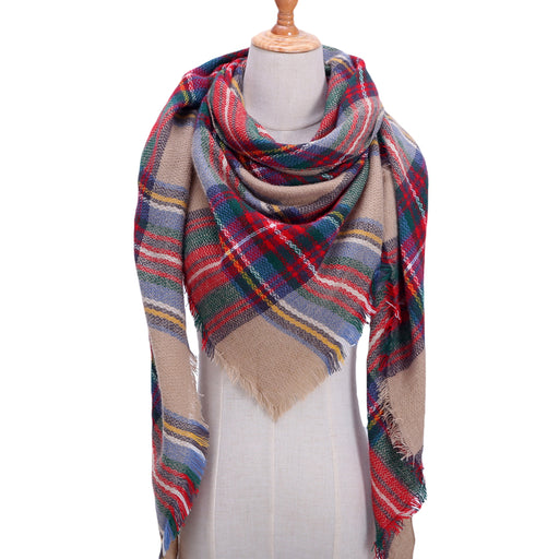 ed618a541c64d Designer knitted spring winter women scarf plaid warm cashmere scarves  shawls luxury brand neck bandana pashmina