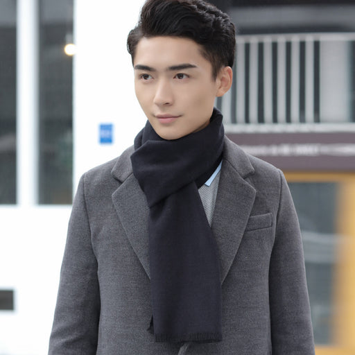 Europe and the United States autumn and winter fashion imitation cashmere men's solid color scarf 2018 new shelves scarf