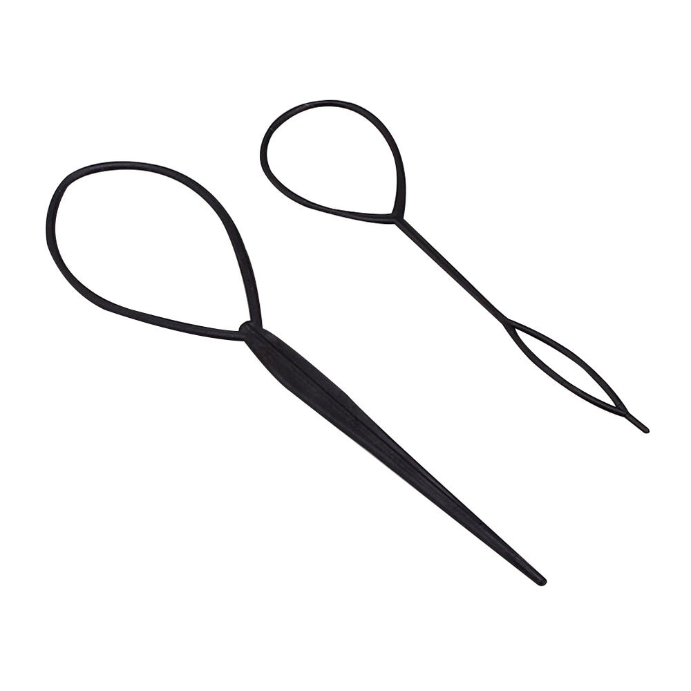 2 Pcs Plastic Crochet Braids Pull Hair Needle Ponytail Pigtails Updo Styling Maker Hairstyle Tool Hairdressing Accessories