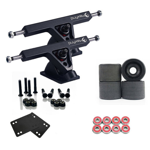 Maxfind Upgrade Longboard Skateboard Package with 7' Trucks,4 pcs PU Wheels,8 pcs Bearings and Handware