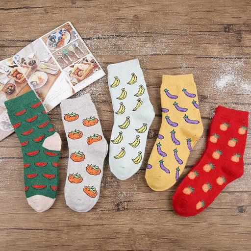 Thickened Warm Rabbit Wool Socks Hair Circle Nap Fruit Socks Middle Tube Thick Socks