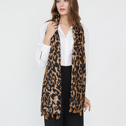 Autumn Classical Leopard Printing Twill Tassel Fashion Women Scarf  Winter Shawl