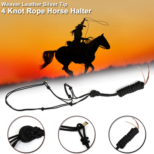 Black Weaver Leather Pull Rope Horse Halter Training Trail