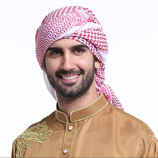Muslim Men Headscarf Polyester Arab Headband Geometric Flower Print Indian Hair Islamic Men Hat Streetwear
