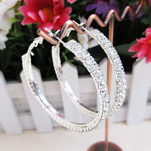 1 Pair Double Row Rhinestone Luxury Crystal Rhinestone Earring Ear Hoop Dangle