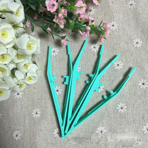 5pcs Disposable Medical Tweezers Small Plastic Tweezers Green New