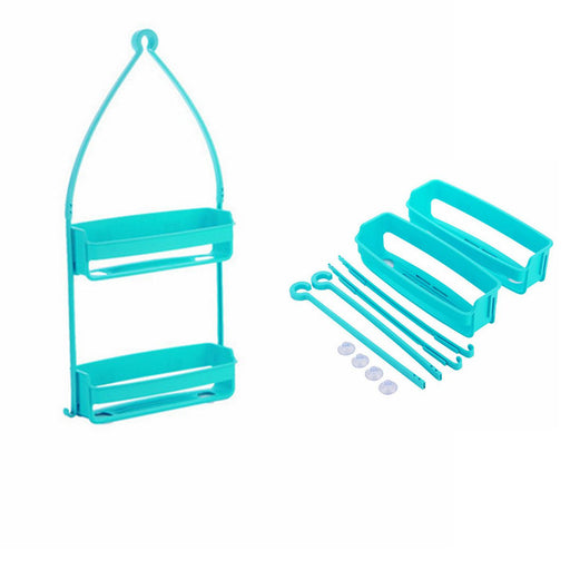 2 Tier Hanging Shower Caddy Rack Tidy Basket Organiser Bathroom Holder Plastic