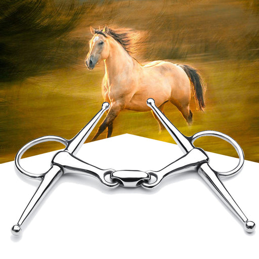 5'' Full Cheek Stainless Steel Equestrian Loose Ring Horse Snaffle Bit D Ring