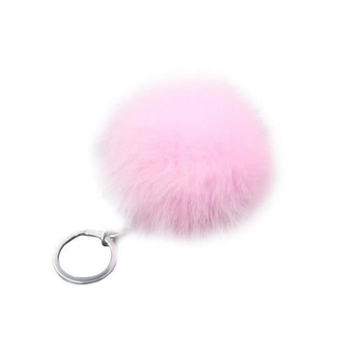 Real Rabbit Key Chain Round Metal Fur Pom Poms Hair Bulb Bag Ball Plush KeyChain For Car Ornaments Pendant Gold