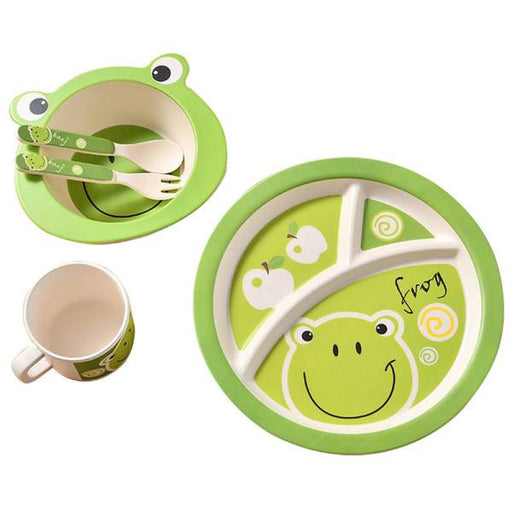 5 Pcs / set Bamboo Fiber Children Tableware for children baby Dishes Dinnerware Table Feeding Bowl Dishes Spoon cup  Bowl Fork