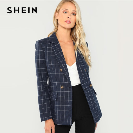 SHEIN Navy Cotton Office Lady Elegant Notched Neck Plaid Double Breasted Blazer Women Pocket Autumn Minimalist Coat Outerwear