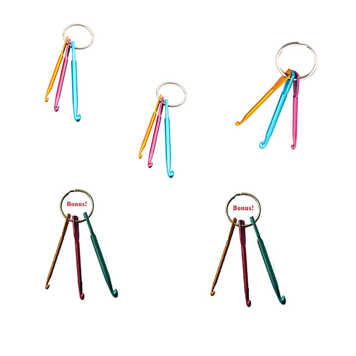 3 Sizes in 1 Set Portable Travel Home Use Crochet Hook Aluminum Keychain Metal Hook Multicolor Crafts Knitting Needles Weave Sewing Cross Stitch
