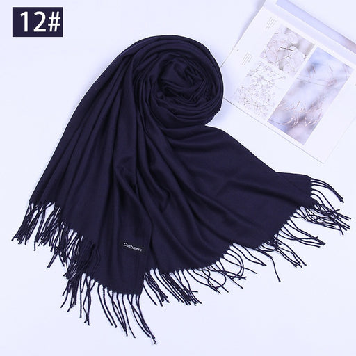 Black Series Cashmere Feel Blanket Scarf Super Soft with Tassel Solid Color Warm Shawl for Women