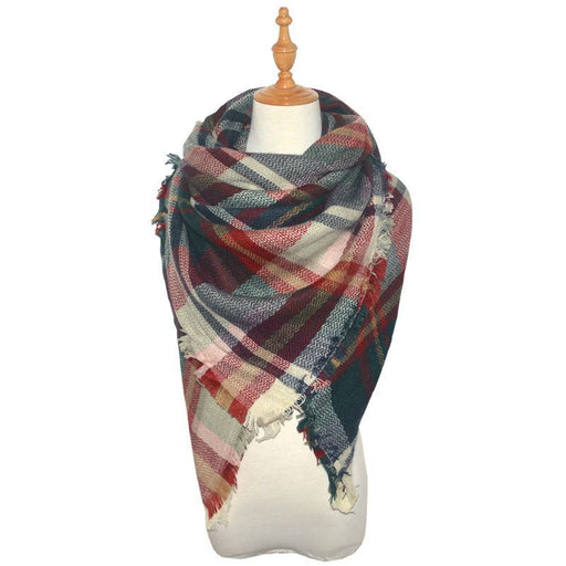 Women's Plaid Blanket Winter Scarf Warm Cozy Tartan Wrap Oversized Shawl Cape