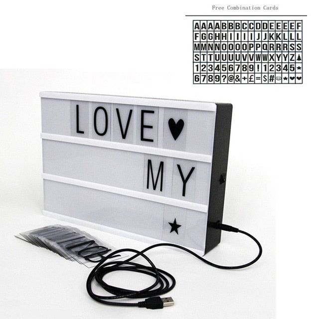 LED Light Box Letters DIY Lightbox Black Letters Cards Combination Night Light A4 Size White Pink Black USB Powered Cinema Lamp