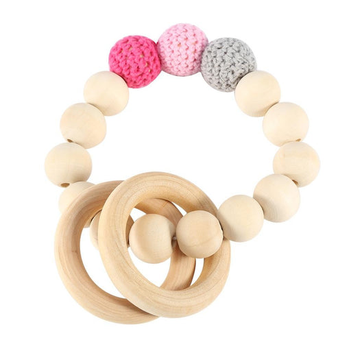 Handmade Natural Wooden Baby Teether Bracelet Crochet Beads Teething Ring Infant Toy Gift