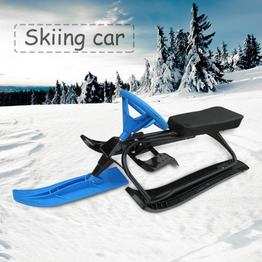 Household Snow Racer with Strong Safe Brake Snow Sled Snowmobile with Steering Wheel Ride On Snow Grass Sand Scooter Red Blue