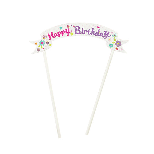 Happy Birthday Cake Topper Cake Decorations Party Supplies (Pink Flower)