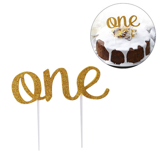 Birthday Cake Topper Double-sided Glitter Cupcake Cake Decorations Party Supplies (Golden ONE)