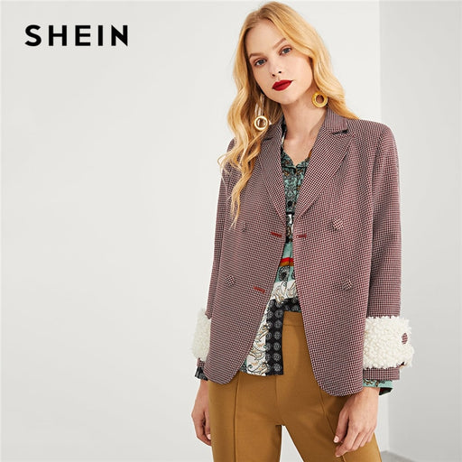 SHEIN Burgundy Elegant Office Lady Double Button Notched Neck Plaid Blazer Autumn Highstreet Workwear Women Coat Outerwear