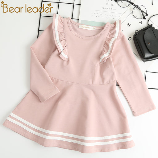 Long Sleeve Girls Dress New Casual Style Girls Clothes Cartoon Letter Pattern Printing Dress for Kids Clothes