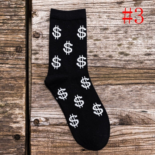 1 Pair New Spring Mens Long Socks Money Dollar 3D Patterned Funny Cartoon Socks