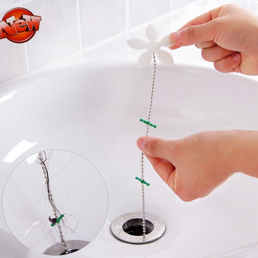 1PC Bathroom Drain Wig Shower Drain Wig Chain Cleaner Hair Clog Remover