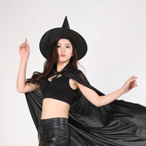 Halloween Peaked Cap Womens Black Witch Hat for Halloween DIY Costume