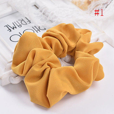 New Lady Hair Scrunchies Ring Elastic Pure Color Hair Rope
