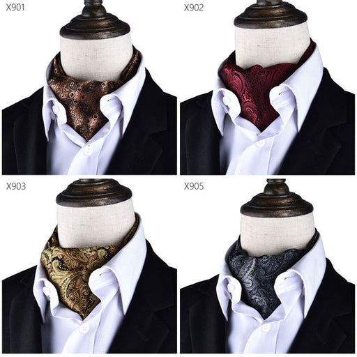 Men Vintage Polka Dot Wedding Formal Cravat Ascot Scrunch Self British style Gentleman Polyester Scarves Neck Tie