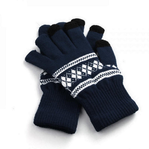 Screen Unisex Wrist Gloves Geometric Knitted Casual Autumn Touch Patchwork 30g Full Warm Winter Fashion Finger