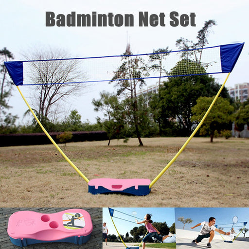 3in1 Outdoor Portable Badminton Set Tennis Volleyball Net Stand Battledore Kit