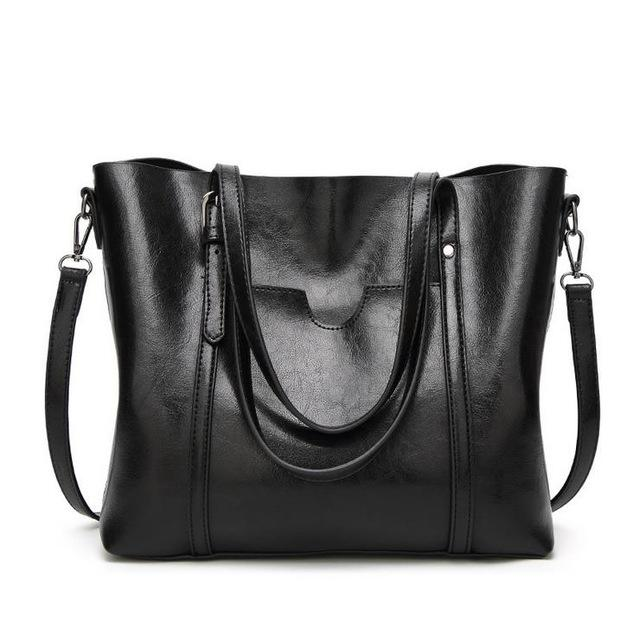 Luxury Oil Waxed Leather Tote Handbag
