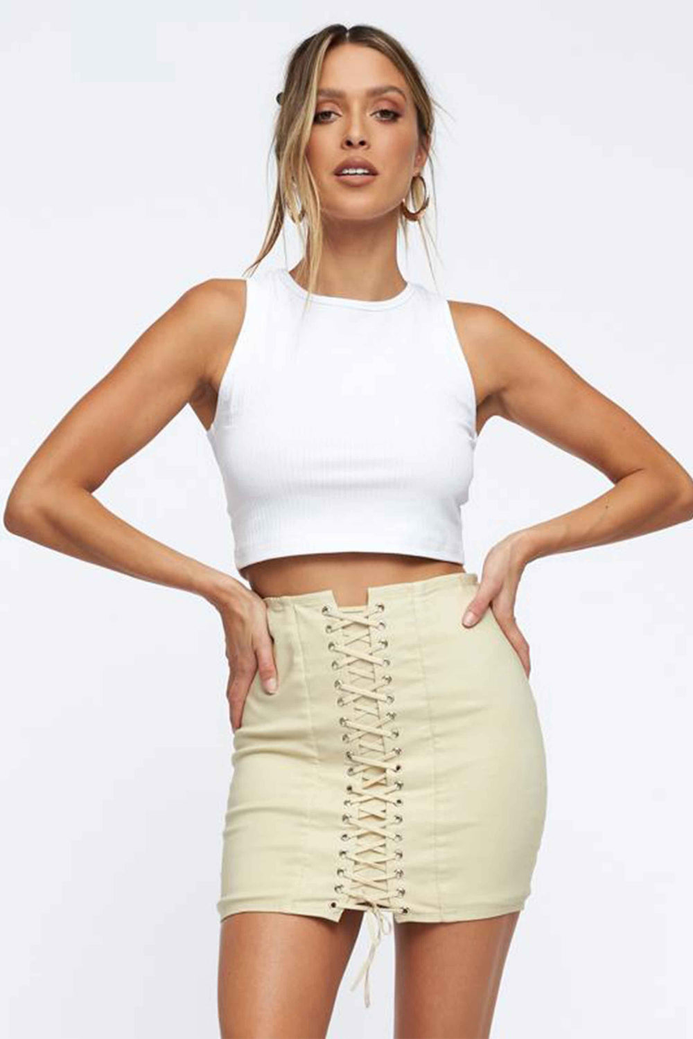 DANGEROUS WOMAN MINI SKIRT - CREAM (4666122567769)