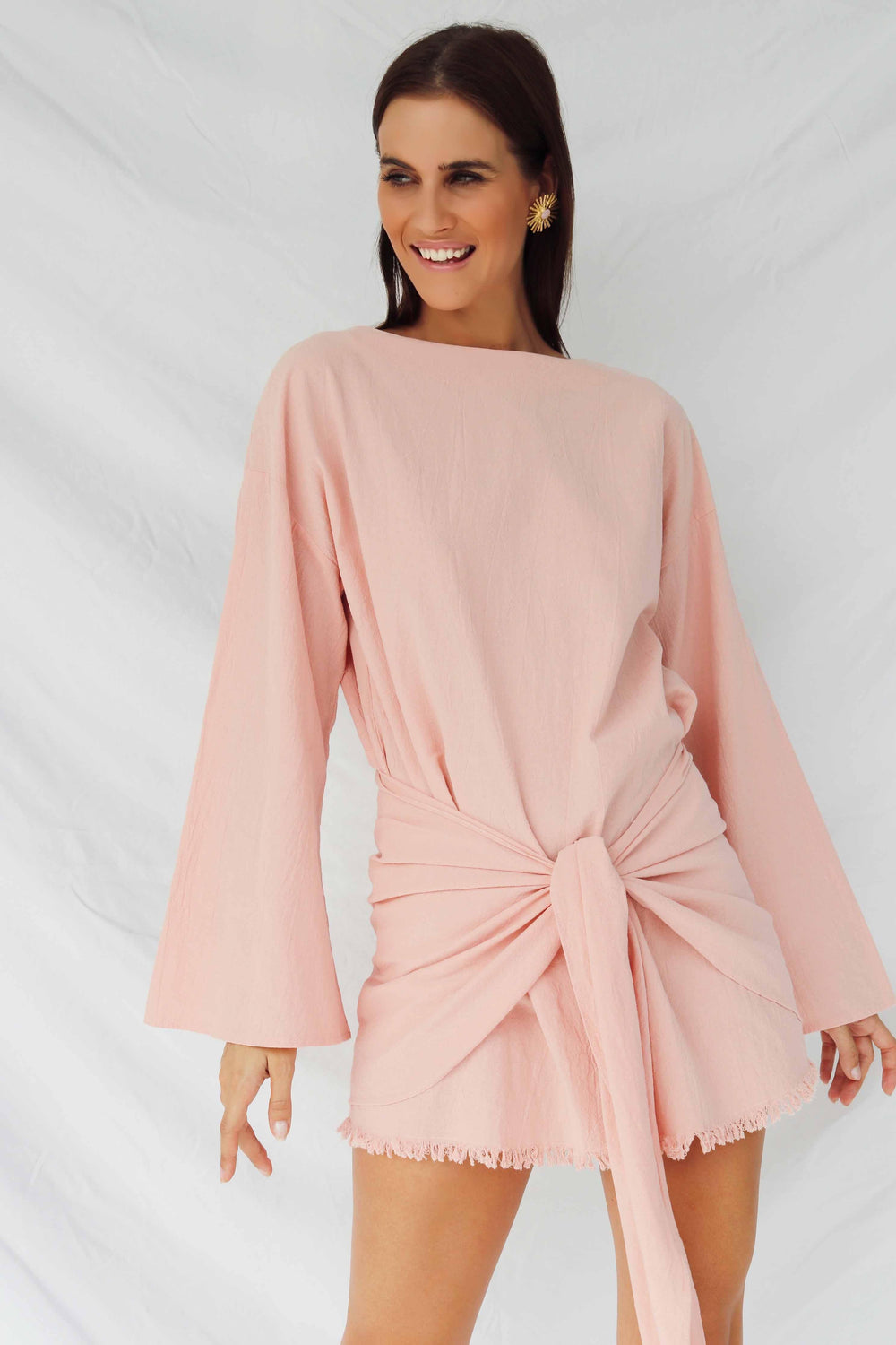 HUA DRESS LONG SLEEVE - PINK (4493781762137)